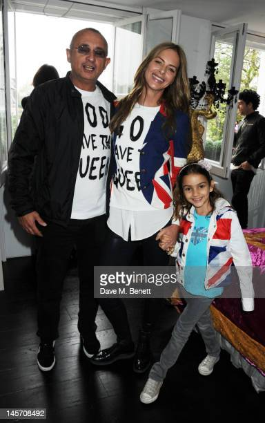 Johnny Elichaoff and Trinny Woodall attend a Diamond Jubilee Party hosted by Amanda Eliasch in Chelsea on June 3 2012 in London England