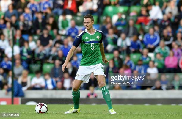 Johnny Evans of Northern Ireland during the international friendly football match between Northern Ireland and New Zealand at Windsor Park on June 2...