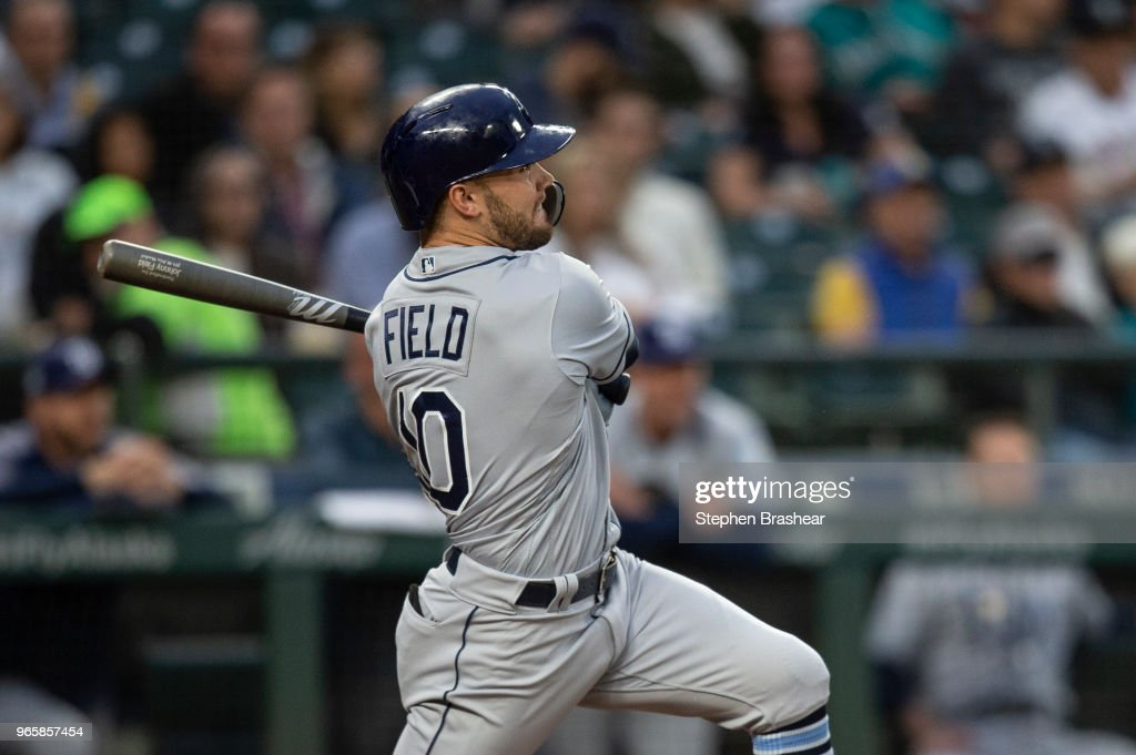 Johnny Field #10 of the Tampa Bay Rays hits a solo home run off of starting pitcher Mike Leake #8 of the Seattle Mariners during the fifth inning of a game at Safeco Field on June 1, 2018 in Seattle, Washington.