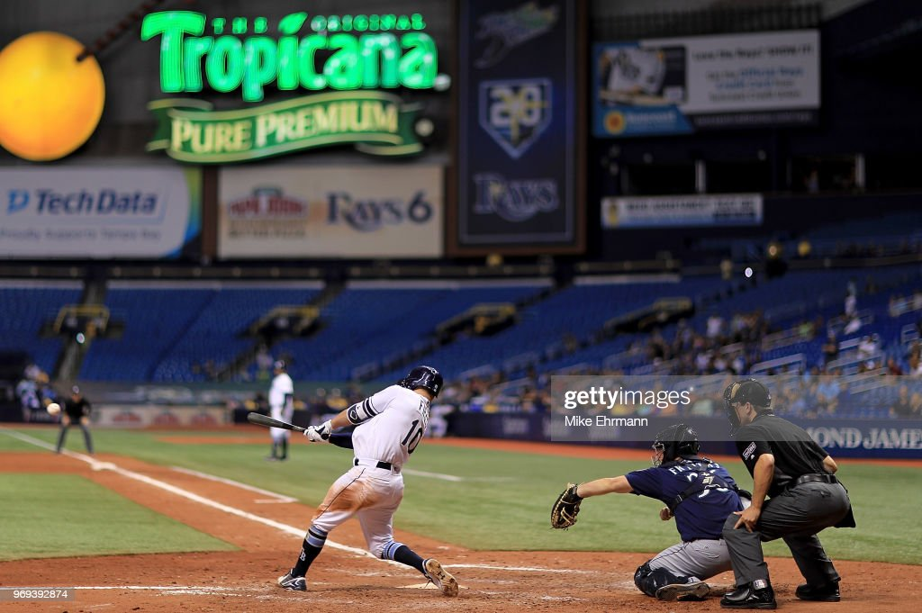 Johnny Field #10 of the Tampa Bay Rays hits a three RBI double in the ninth inning during a game against the Seattle Mariners at Tropicana Field on June 7, 2018 in St Petersburg, Florida.