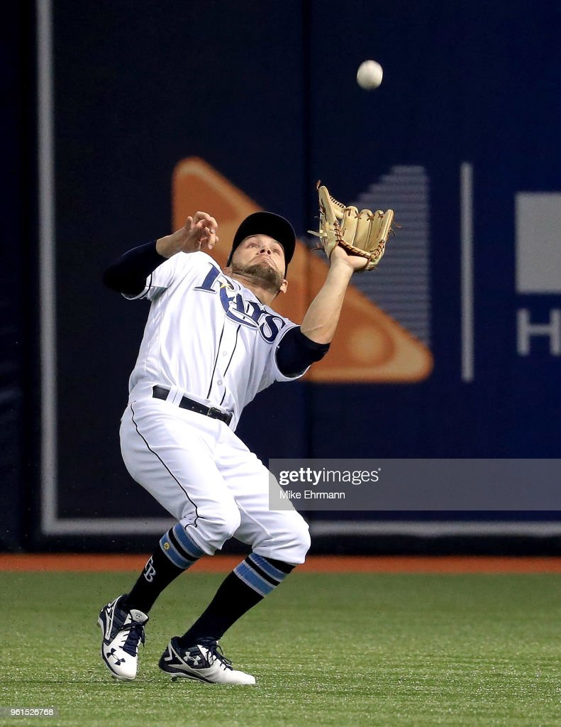 Johnny Field #10 of the Tampa Bay Rays makes a catch during a game against the Boston Red Sox at Tropicana Field on May 22, 2018 in St Petersburg, Florida.