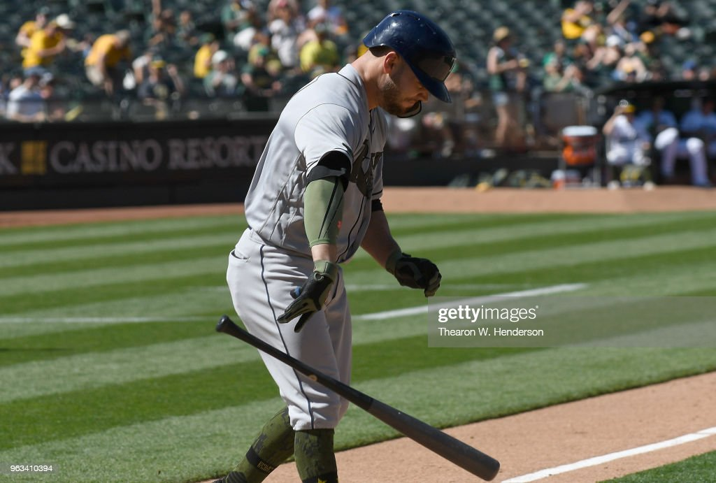 Johnny Field #10 of the Tampa Bay Rays reacts and slam his bat to the ground after striking out against the Oakland Athletics in the top of the 10th inning at the Oakland Alameda Coliseum on May 28, 2018 in Oakland, California.