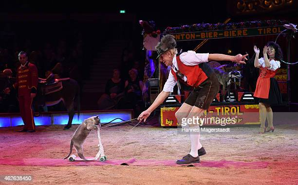 Johnny Fischer performs during the 'Wunderwelt der Manege' Circus Krone Premiere on February 1 2015 in Munich Germany