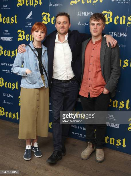 Johnny Flynn Michael Pearce and Jessie Buckley attend a special preview screening of 'Beast' at Ham Yard Hotel on April 16 2018 in London England