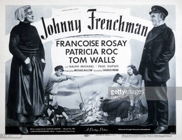 Johnny Frenchman lobbycard from left Francoise Rosay Ralph Michael Patricia Roc Tom Walls 1945