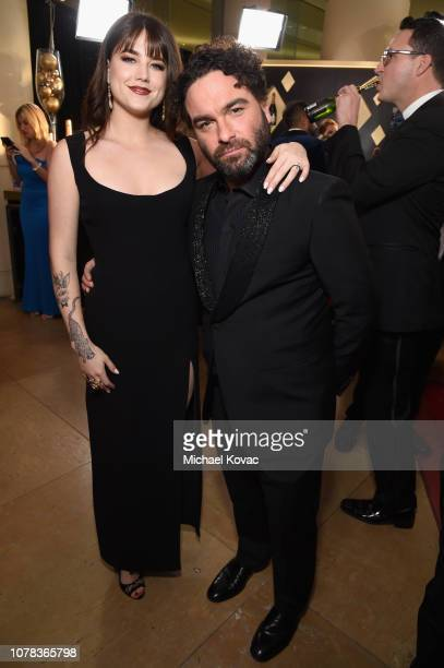 Johnny Galecki and Alaina Meyer attend Moet Chandon at The 76th Annual Golden Globe Awards at The Beverly Hilton Hotel on January 6 2019 in Beverly...