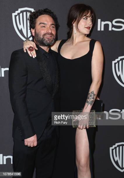 Johnny Galecki and Alaina Meyer attend the InStyle And Warner Bros Golden Globes After Party 2019 at The Beverly Hilton Hotel on January 6 2019 in...