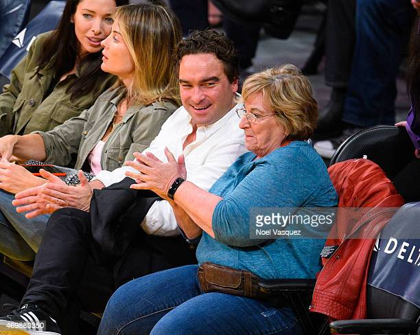 Johnny Galecki and Mary Lou Galecki attend a basketball game between the Sacramento Kings and the Los Angeles Lakers at Staples Center on April 15...