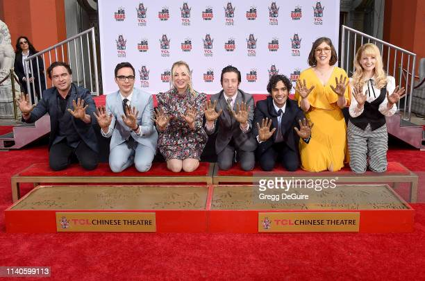 Johnny Galecki Jim Parsons Kaley Cuoco Simon Helberg Kunal Nayyar Mayim Bialik and Melissa Rauch of The Cast Of The Big Bang Theory Place Their...