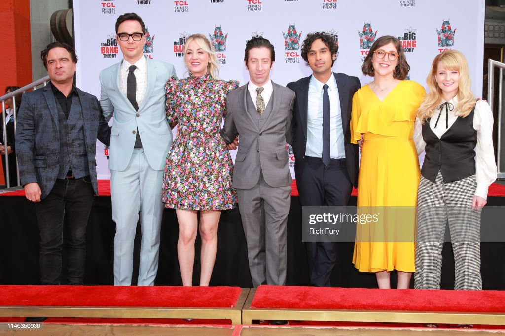 "The Cast Of ""The Big Bang Theory"" Places Their Handprints In The Cement At The TCL Chinese Theatre IMAX Forecourt : News Photo"