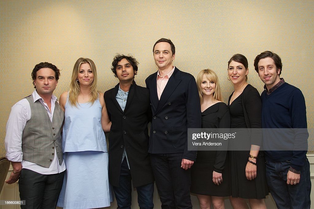 Johnny Galecki, Kaley Cuoco, Kunal Nayyar, Jim Parsons, Melissa Rauch, Mayim Bialik and Simon Helberg at 'The Big Bang Theory' Press Conference at the Four Seasons Hotel on October 30, 2013 in Beverly Hills.