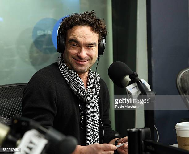 Johnny Galecki visits 'Sway in the Morning' with Sway Calloway on Eminem's Shade 45 at SiriusXM Studios on January 20 2017 in New York City