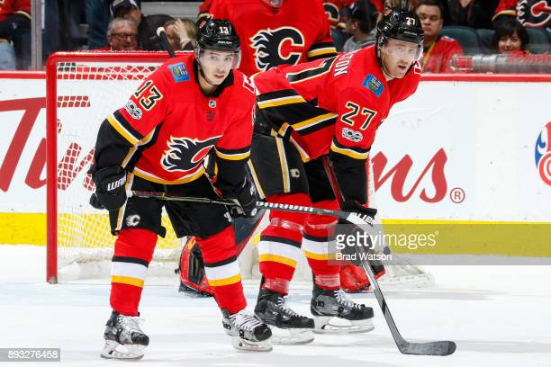 Johnny Gaudreau and Dougie Hamilton of the Calgary Flames in a game against the San Jose Sharks at the Scotiabank Saddledome on Saturday night