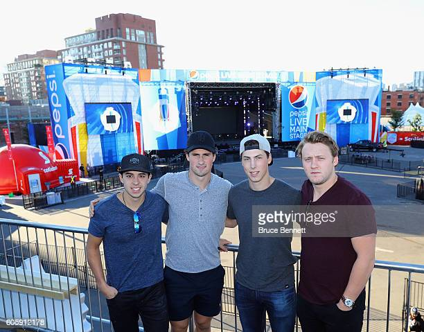 Johnny Gaudreau Dylan Larkin Ryan NugentHopkins and Morgan Reilly appear at the Scotiabank Fan Village prior to it's opening as part of the World Cup...