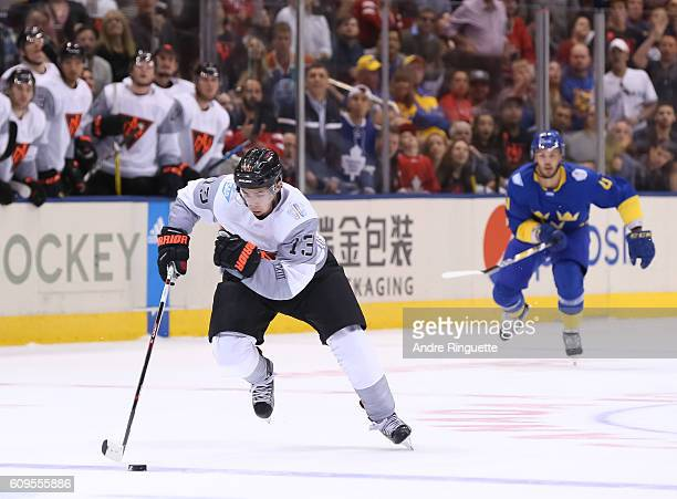 Johnny Gaudreau of Team North America charges up ice on a breakaway against Team Sweden during the World Cup of Hockey 2016 at Air Canada Centre on...