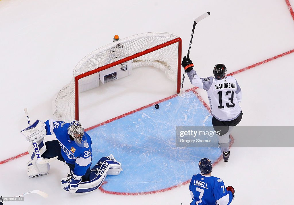 Johnny Gaudreau #13 of Team North America scores a second-period goal against Pekka Rinne #35 of Team Finland during the World Cup of Hockey at the Air Canada Center on September 18, 2016 in Toronto, Canada. Team North America won the game 4-1.