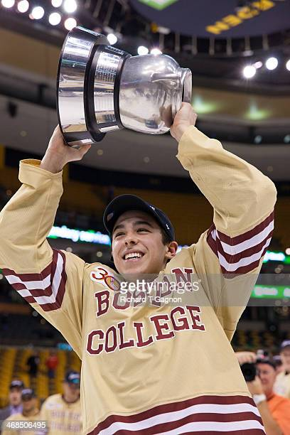 Johnny Gaudreau of the Boston College Eagles celebrates after the Eagles beat the Northeastern University Huskies to win their fifth Beanpot...