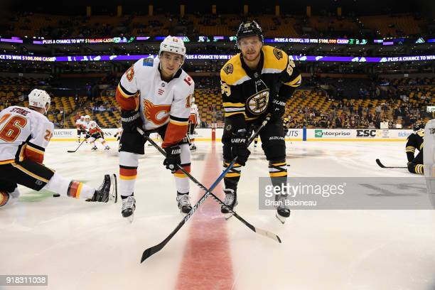 Johnny Gaudreau of the Calgary Flames and David Pastrnak of the Boston Bruins pose for a photo before the game at the TD Garden on February 13 2018...