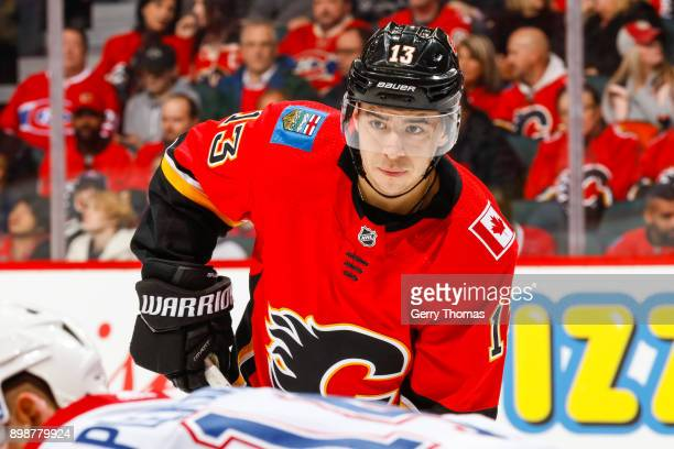 Johnny Gaudreau of the Calgary Flames at face off in a game against the Montreal Canadiens on December 22 2017 at the Scotiabank Saddledome in...