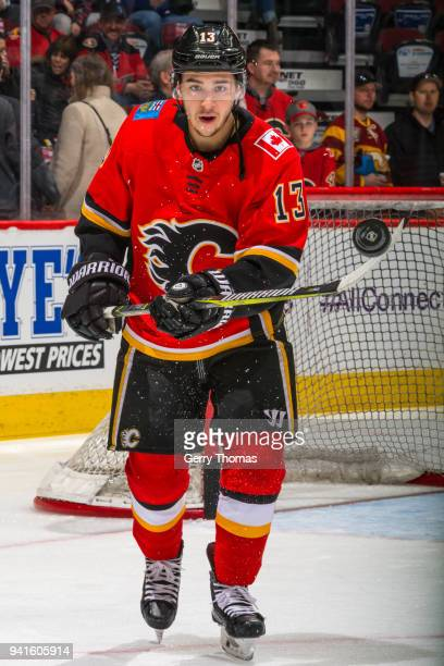 Johnny Gaudreau of the Calgary Flames at warm up in an NHL game on April 3 2018 at the Scotiabank Saddledome in Calgary Alberta Canada