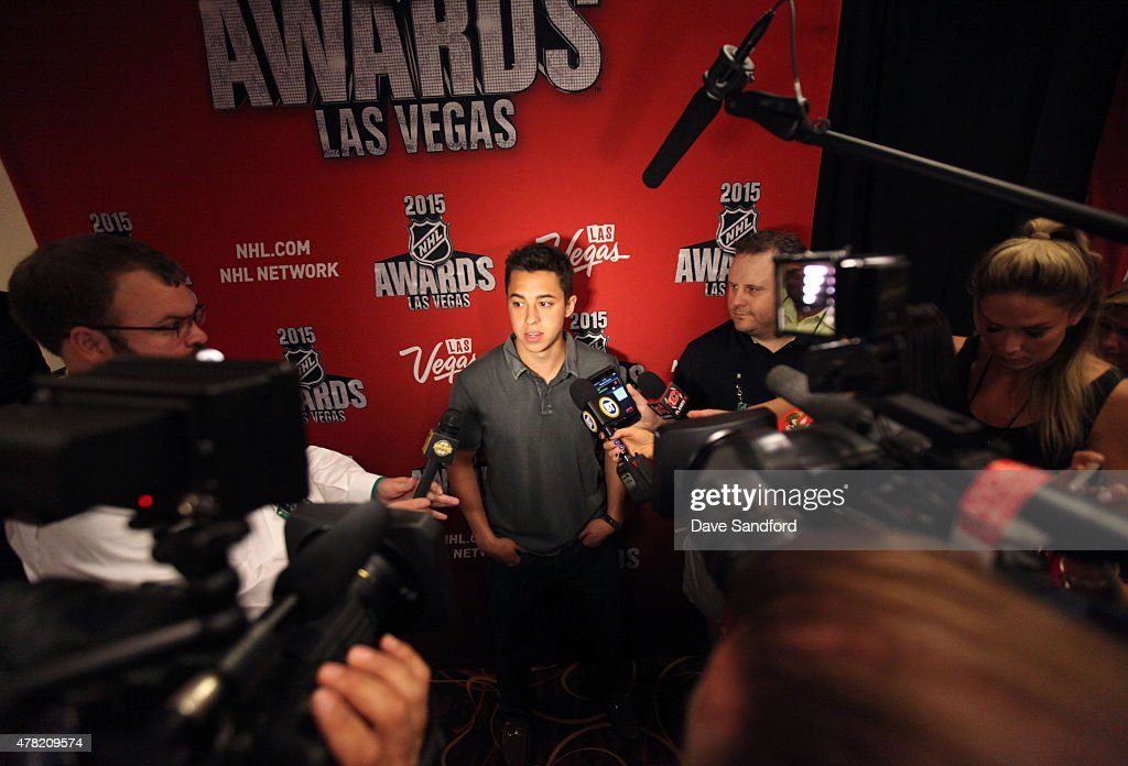 Johnny Gaudreau of the Calgary Flames attends the 2015 NHL Awards nominee media availability at the MGM Grand Garden Arena on June 23, 2015 in Las Vegas, Nevada.
