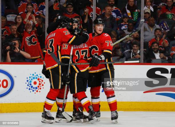Johnny Gaudreau of the Calgary Flames celebrates with teammates after  scoring a goal against the Edmonton eff0bf7fc
