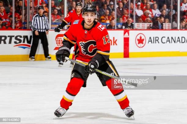 Johnny Gaudreau of the Calgary Flames in a game against the Montreal Canadiens on December 22 2017 at the Scotiabank Saddledome in Calgary Alberta...