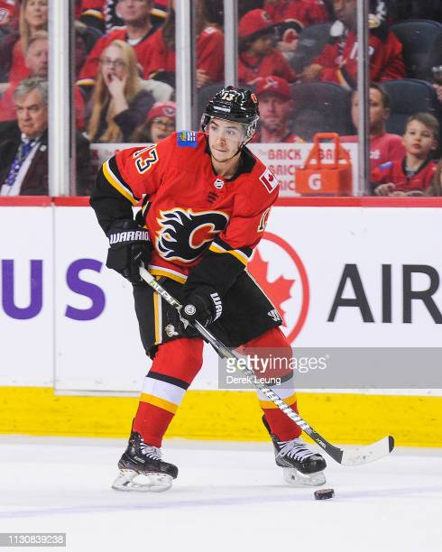 Johnny Gaudreau of the Calgary Flames in action against the Arizona Coyotes during an NHL game at Scotiabank Saddledome on February 18 2019 in...