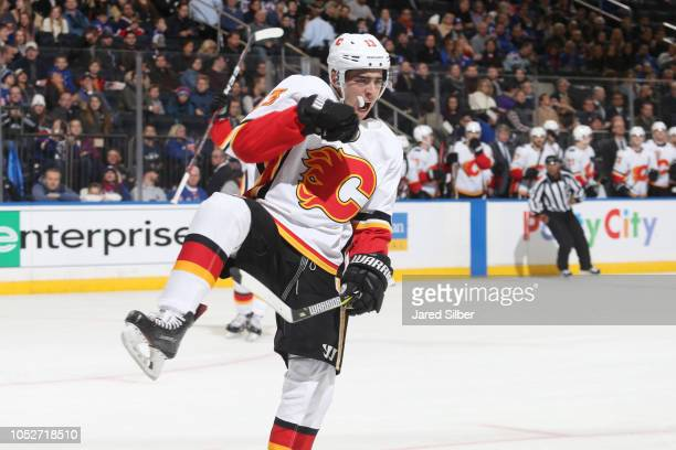 Johnny Gaudreau of the Calgary Flames reacts after scoring a goal in the second period against the New York Rangers at Madison Square Garden on...