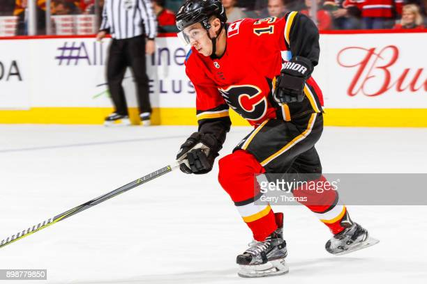 Johnny Gaudreau of the Calgary Flames rushes to action in a game against the Montreal Canadiens on December 22 2017 at the Scotiabank Saddledome in...