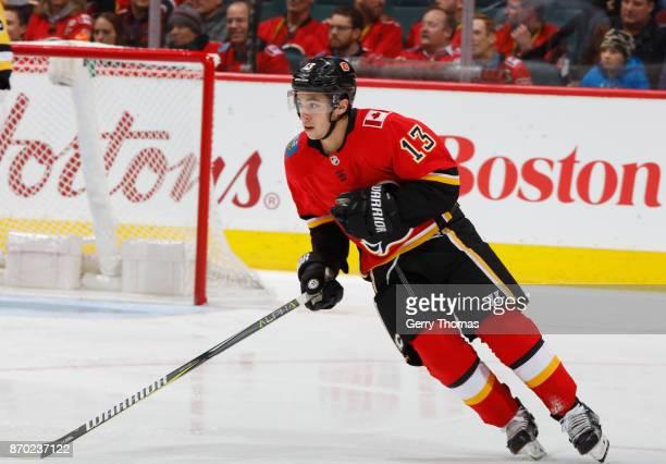 Johnny Gaudreau of the Calgary Flames skates against the Pittsburg Penguins at Scotiabank Saddledome on November 2 2017 in Calgary Alberta Canada