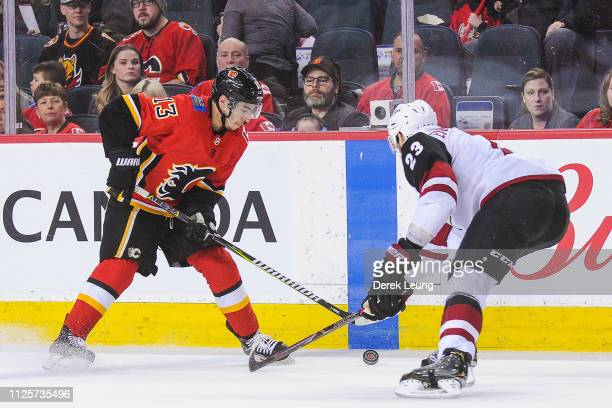 Johnny Gaudreau of the Calgary Flames skates with the puck against Oliver EkmanLarsson of the Arizona Coyotes during an NHL game at Scotiabank...