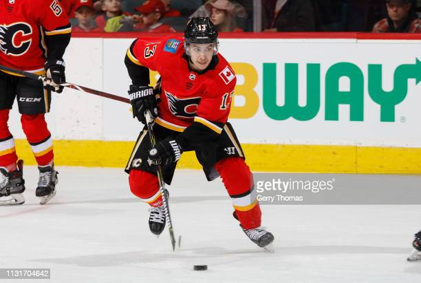 Johnny Gaudreau of the Calgary Flames skates with the puck against the Arizona Coyotes at Scotiabank Saddledome on February 18 2019 in Calgary...