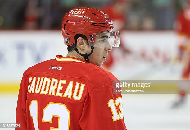 Johnny Gaudreau of the Calgary Flames warms up before playing in NHL game against the Ottawa Senators at the Scotiabank Saddledome on February 27...