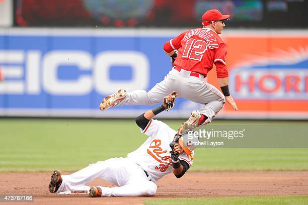 Johnny Giavotella of the Los Angeles Angels forces out Jimmy Paredes of the Baltimore Orioles on a ball hit by Adam Jones in the first inning during...