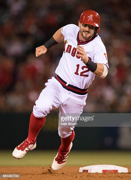 Johnny Giavotella of the Los Angeles Angels of Anaheim runs during the game against the Chicago White Sox at Angel Stadium of Anaheim on July 15 2016...