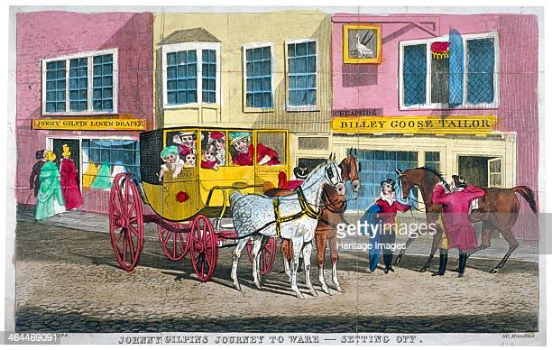 'Johnny Gilpin's journey to Ware setting off' c1795 John Gilpin about to mount his horse in Cheapside Three customers are entering his draper's shop...