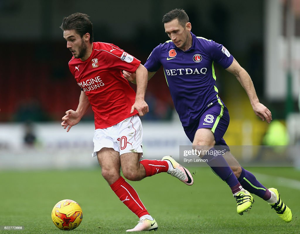 Johnny Goddard avoids Andrew Crofts of Swindon Town during the Sky Bet League One match between Swindon Town and Charlton Athletic at County Ground on November 12, 2016 in Swindon, England.