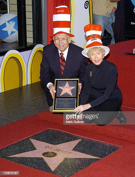 Johnny Grant and Audrey Geisel wife of the late Dr Seuss at the Dr Seuss Star on Hollywood Walk of Fame