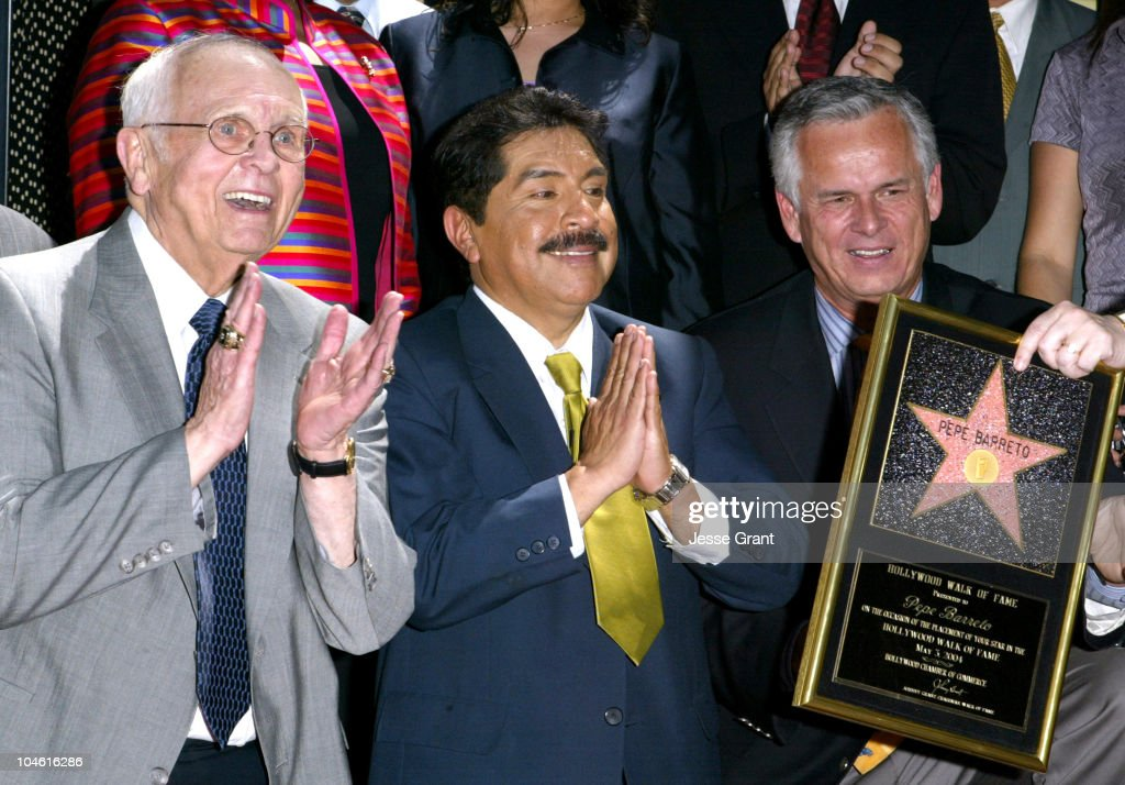 Johnny Grant, Pepe Berreto and Mayor James Hahn during Pepe Barreto Honored with Star on The Hollywood Walk Of Fame at 6536 Hollywood Blvd. in Hollywood, California, United States.