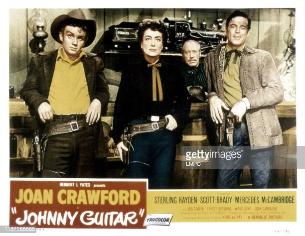 Johnny Guitar lobbycard from left Ben Cooper Joan Crawford Frank Ferguson Scott Brady 1954