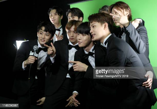 Johnny Haechan Mark Jaehyun Taeyong Yuta Taeil and Doyoung of NCT 127 backstage during the MTV EMAs 2019 at FIBES Conference and Exhibition Centre on...