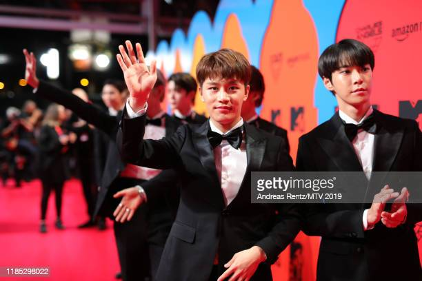 Johnny Haechan Mark Jaehyun Taeyong Yuta Taeil and Doyoung of NCT 127 attend the MTV EMAs 2019 at FIBES Conference and Exhibition Centre on November...