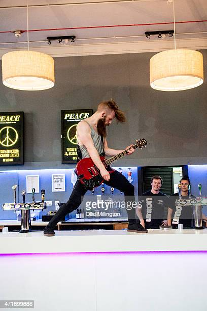 Johnny Hall of Baby Godzilla performs on the back of the bar during Day 1 of Handmade Festival 2015 at O2 Academy Leicester on May 1, 2015 in...