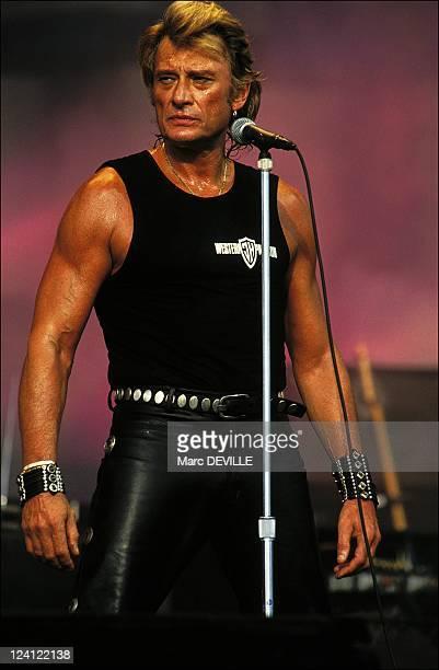 Johnny Halliday in concert at the ' Fete de l' Humanite' in La Courneuve France on September 15 1991 Johnny Halliday