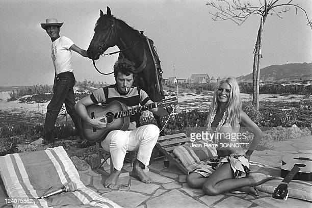 Johnny Hallyday and Brigitte Bardot In Saint Tropez France In August 1967