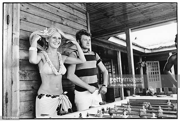 Johnny Hallyday and Brigitte Bardot In Saint Tropez France In August 1967