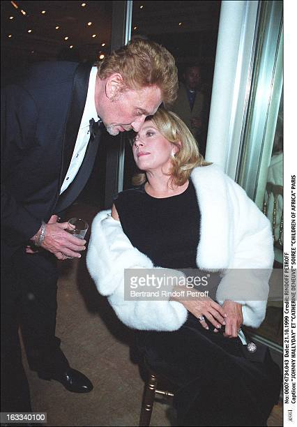 Johnny Hallyday and Catherine Deneuve at theParis Gala In Aid Of Children Of Africa