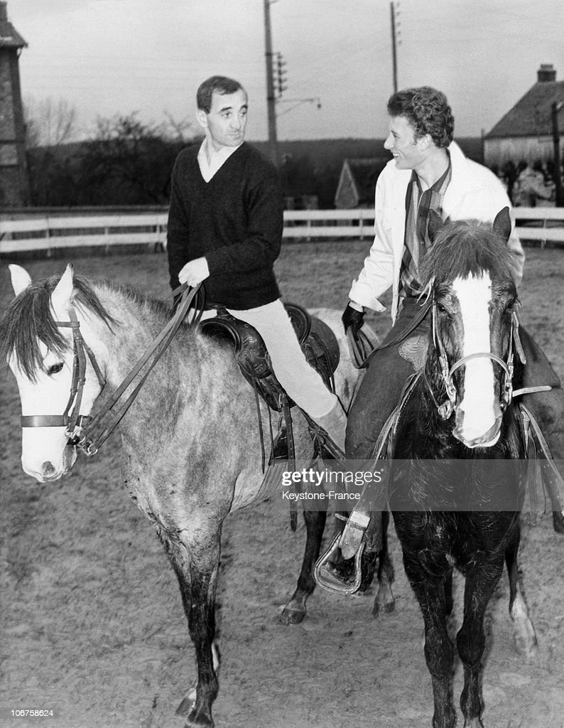 Johnny Hallyday And Charles Aznavour On Horseback In The 1960'S. : News Photo