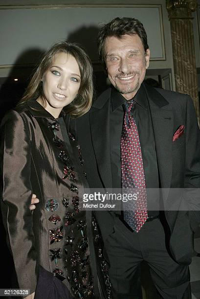 Johnny Hallyday and his daughter actress Laura Smet attend the 11th annual Aids Gala Benefit hosted by Pierre Berge at the Pavillon d'Armenonville on...